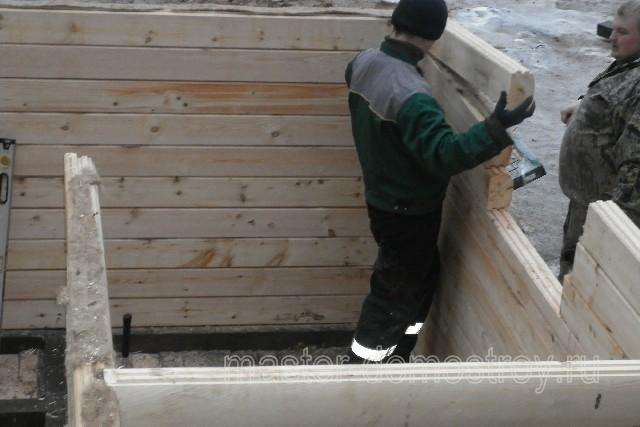 Фотоотчет о строительстве дома-бани 6х6 м из профилированного бруса в Московской области.