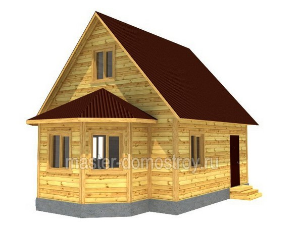 Дом из бруса 6х8 м с эркером проект №17